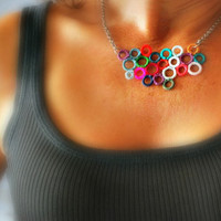 Colorful Crochet Necklace.