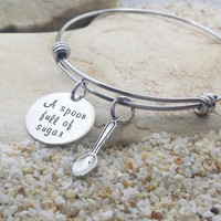 Jewelry - Bangle - Bracelet - Disney - Mary Poppins - Hand Stamped - Stamped Jewelry - Gift for Her - A spoon full of sugar