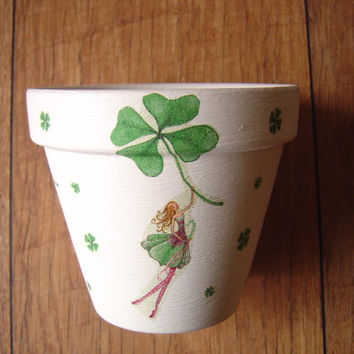 Hand Painted and Decorated Flower Pots Decoupage, Planters, St Patricks Day, St Paddy's Day, St Patty's Day. Made in Ireland