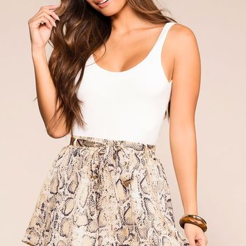 In The Know Taupe Snakeskin Print Self-tie Shorts