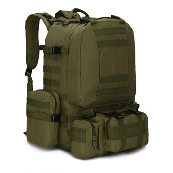 55L Molle 600D Military Tactical Backpack for Fishing Rucksack Camping Hiking Hunting Climbing Camouflage Mountaineering Bags