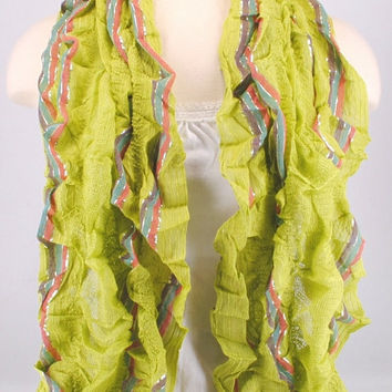 Lime Green Ruffle Lace Crochet Stretch Scarf Women Summer Spring Creations by Terra