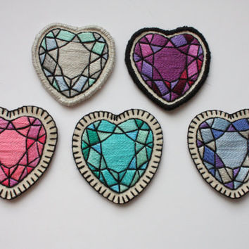 Hand Embroidered Crystal Heart Patch / Brooch. Turquoise Blue Mint Aqua Heart Gem Sew On Patch or Pin. Spring 2015 Trends. *MADE TO ORDER*
