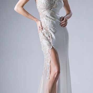 Long Appliqued Sleeveless Prom Dress with High Slit Cream