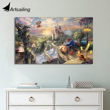 HD print 1 piece canvas art Beauty and the Beast  poster Thomas Kinkade painting wall art picture home decoration UP-1845C