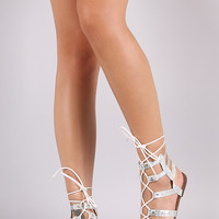 Snake Strappy Lace-Up Gladiator Flat Sandal