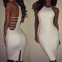 White Halter Strappy Midi Dress