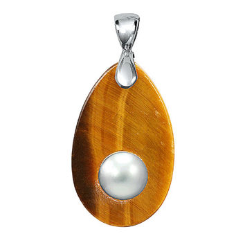 Tiger Eye Mother of Pearl Pendant in Sterling Silver