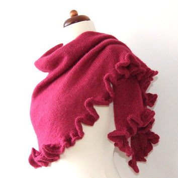 red ruffle shawl, shimmering wrap, cozy knitted scarf