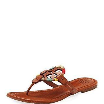 Tory Burch Women's Vachetta Leather Flat Thong Sandals - Miller (5, Embroidered Vachetta)