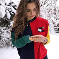 """""""Tommy Jeans"""" Fashion Couple Casual Embroidery Round Collar Velvet Sweater Top Sweatshirt"""