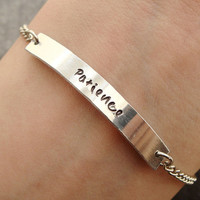 "Personalized Word Bracelet, Engraved Metal Chain Bracelet with ""Patience"""