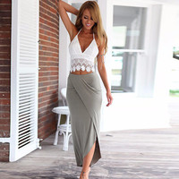 Halter Outfit Lace Halter Backless Cropped Top Bodycon Wrap Maxi Skirt Set - White