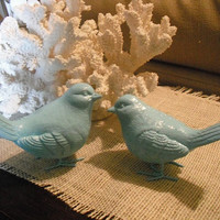 2 upcycled Tiffany Blue ~ Robin's Egg Blue Birds ~ Wedding topper love birds ~ Cottage chic decor