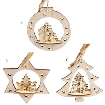 2017 Hot New Arrive Christmas Wood Hanging Ornament Snowflake Wood Embellishments Rustic Christmas Tree Hanging Ornament Decor