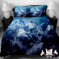 Blue Surging Clouds Galaxy Bedding Set and Quilt Cover