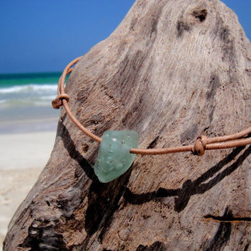 Hawaiian Aqua Blue Bonfire Beach Glass on India Leather Cord Completely Adjustable & Stackable Bracelet