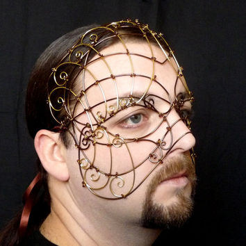 Mens steampunk masquerade mask in bronze and brass wire