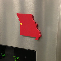 "Kansas City  Chiefs ""State Heart"" magnet, handcrafted wood with official team colors"