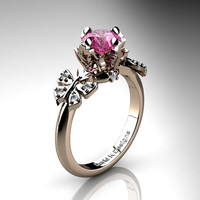 Nature Inspired 14K Rose Gold 1.0 Ct Pink Sapphire Diamond Leaf and Vine Butterfly Wedding Ring Engagement Ring R1034-14KRGDPS