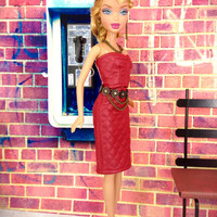 Skirt Outfit for Barbie Doll - Red Leather-Look Skirt and Bustier Top with Earrings, Necklace, and Shoes