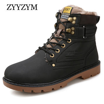 New Arrival Men Boots Autumn Winter PU Leather Fashion Casual Men Outdoor Work Shoes Martin Motorcycle Boot