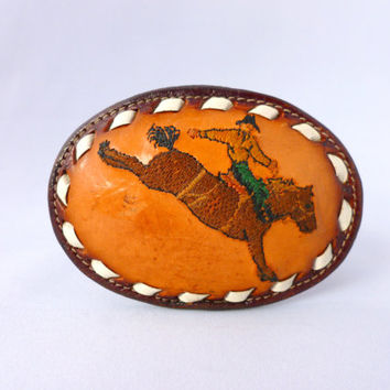 Mens Vintage Belt Buckle Embroidered Bucking Bronco Rodeo Rider Tony Lama 1970s Counrty Western Cowboy