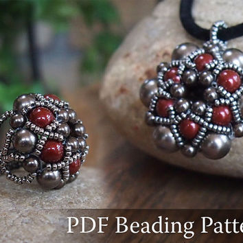 Beading Tutorial Dorothy Pendant and Ring, Beadwork PDF Pattern with Swarovski Crystal Pearls and japanese seed beads
