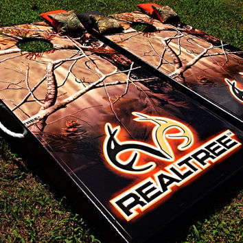 Realtree Full Camo Custom Cornhole Boards with Add by WGCornhole