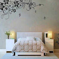 Hee Grand Removable Vinyl Wall Sticker Mural Decal Art - Flowers and Vine (BLACK, 1)