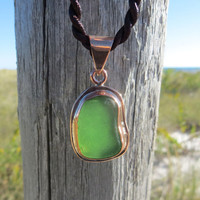 Sea Emerald Green  Sea Glass Copper Pendant by Wave of Life
