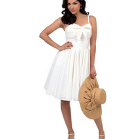 Preorder -  Iconic by UV 1950s Style White Eyelet Golightly Bow Short Swing Dress