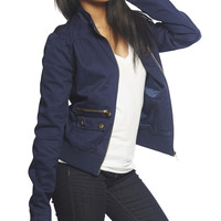 Twill Zipper Jacket | Wet Seal