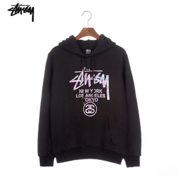 Stussy Tide brand classic parade lovers hooded sweater Black