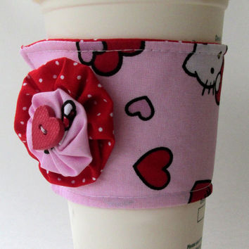 Hello Kitty Coffee Cup Cozy / Valentine's Day Drink Sleeve / Hearts / Polka Dots