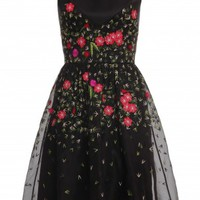 Boutique 1 - TEMPERLEY LONDON - Black Primrose Floral Flared Dress | Boutique1.com