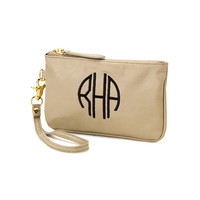 Tan Beige Mini Wristlet Purse Wallet - Monogrammed Personalized Purse