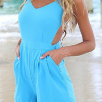 Light Blue Backless V-Neck Romper