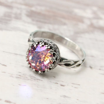 Vintage ring sterling silver with Swarovski Rose crystal, princess ring, handmade, floral band, crown setting, sparkling pink ring