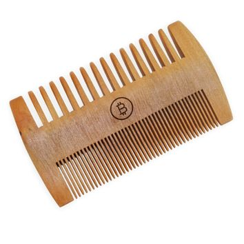 Bitcoin Beard Comb, Wooden Beard Comb Made With Pear Wood. Double Sided Beard Comb.