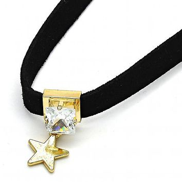 Gold Layered 04.215.0019.13 Fancy Necklace, Star Design, with White Cubic Zirconia, Polished Finish, Gold Tone