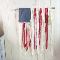 Americana Rag Flag Wall Hanging, Rustic Tattered American Flag Wall Decor, Farmhouse Decor, 4th of July Wall Decor, Flag Garland, Gift Idea