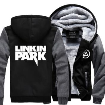 Hot New STARS LOVES Linkin Park Hoodie Logo Winter JiaRong Fleece Mens Sweatshirts Free Shipping