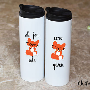 Travel Mug Set Zero Fox and Fox Sake, Funny Travel Mug Set