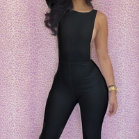 Black One Sleeve Bodycon Jumpsuit
