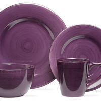 16-Pc Sonoma Dinnerware Set, Purple, Dinner Plates