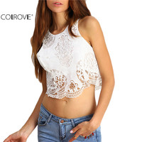 COLROVE Famous Brand New Arrival High Street Sexy Tops Korean Fashion Clothing Vogue White Round Neck Crochet Lace Cropped Tank