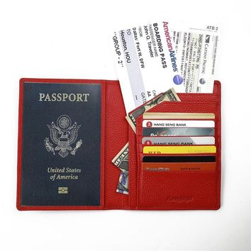 Fancystyle Bifold Rfid Blocking Passport Holder Identity Safe Cards Cover Wallet Made of Full Grain Geniune Leather
