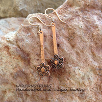 Copper Flower Earrings, Handcrafted Jewelry, Copper Earrings, Copper Jewelry, Gift for Her, Hammered Earrings, Fashion Jewelry,