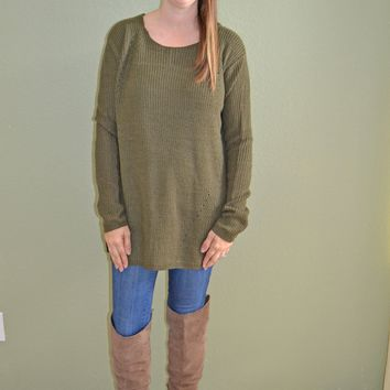 At First Look Olive Sweater
